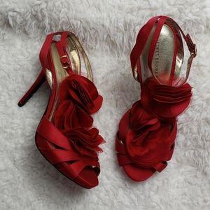 ❄ Audrey Brooke : Red Fabric Flower Stiletto Heels